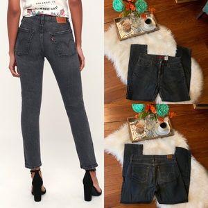 Levi's hi-Rise dark gray/blue straight jeans 28/6